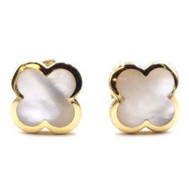 Van Cleef & Arpels-VAN CLEEF & ARPELS 18k Boucles d'oreilles en or jaune nacre pure Alhambra-Doré
