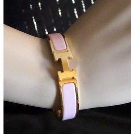 Hermès-Hermès Gold Enamel H Clic Clac PM Bangle-Golden