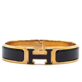 Hermès-Hermès Gold Black Enamel H Clic Clac PM Bangle-Black