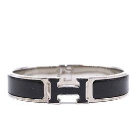 Hermès-Hermès Silver Black Enamel H Clic Clac PM Bangle-Black