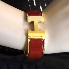 Hermès-Hermès Gold Burgundy Enamel H Clic Clac PM Wide Cuff-Other