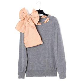 Louis Vuitton-GREY WOOL KNOT FR36/38-Rose,Gris