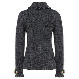 Chanel-navy tweed studded jacket-Dark blue
