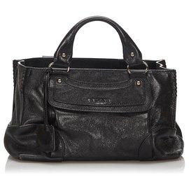 Céline-Celine Black Leather Boogie Handbag-Black