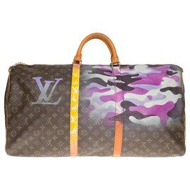 "Louis Vuitton-Louis Vuitton Keepall bag 60 in custom monogram canvas ""Camouflage"" by artist PatBo-Brown,Purple"
