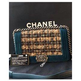 Chanel-Sac Chanel Boy Medium Bag-Marron,Bleu,Marron foncé