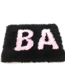 Balenciaga-Balenciaga Oversize Faux Fur Spell Out Logo Black Pink Scarf/Wrap-Black