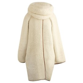 Hermès-oversized coat with removable snood scarf-Other