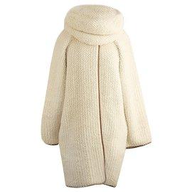 Hermès-manteau oversize avec foulard snood amovible-Autre