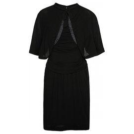Chanel-black silk dress with bow-Black