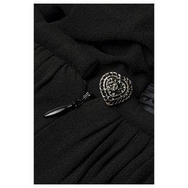 Chanel-robe en soie noire avec noeud-Noir