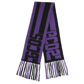 GCDS-Logo unisex scarf-Black,Purple