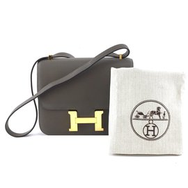 Hermès-Hermes Constance 18 Swift Grey calf leather Leather-Grey