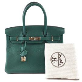 Hermès-HERMES BIRKIN 30 Malachite Clemence Leather-Green