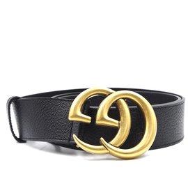 Gucci-Ceinture en cuir grainé Gucci Marmont GG noir 95/38-Noir