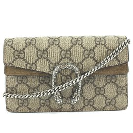Gucci-Gucci Dionysus Super Mini Brown GG Supreme Canvas-Marron