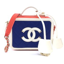 Chanel-Chanel CC Filigree Vanity Case Small Blue Red Caviar Leather-Multiple colors