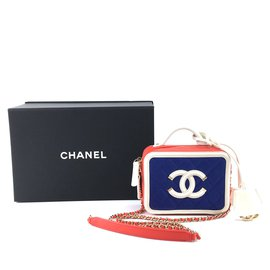 Chanel-Chanel CC Vanity Filigree Case Small Blue Red Caviar Leather-Multicor