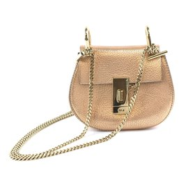 Chloé-Chloé Drew Nano Metallic Gold Leather Shoulder Bag-Golden