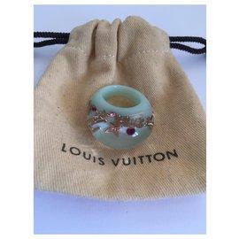 Louis Vuitton-LOUIS VUITTON Bague d'inclusion Taille S en résine vert d'eau-Vert clair