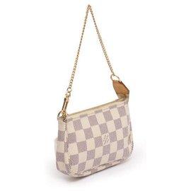 Louis Vuitton-Louis Vuitton Mini Pochette Accessoires Damier Azur-Cream