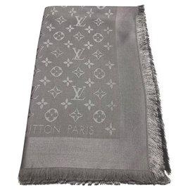 Louis Vuitton-Châle gris perle monogram Louis Vuitton-Gris