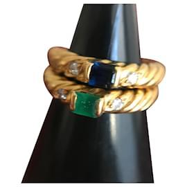Autre Marque-2 Bagues or jaune saphir émeraude et diamant-Doré
