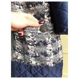 Chanel-manteau oversize en tweed boucle-Multicolore