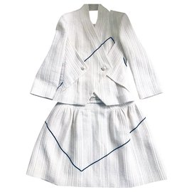 Chanel-Runway geometric pattern skirt suit-White