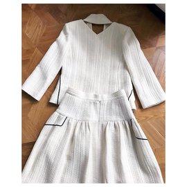 Chanel-Tailleur de piste motif géométrique-Blanc