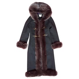 Céline-Céline coat with fox hooded lapel-Dark grey