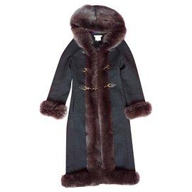 Céline-Manteau Céline avec revers capuche en renard-Gris anthracite