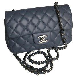 Chanel-Bolsa Mini Retangular Clássica com Caixa-Azul,Cinza