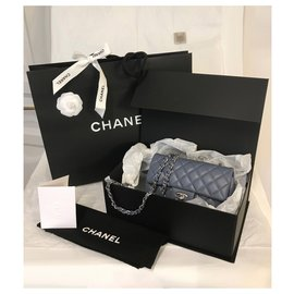 Chanel-Classic Rectangular Mini Flap Bag with box-Blue,Grey