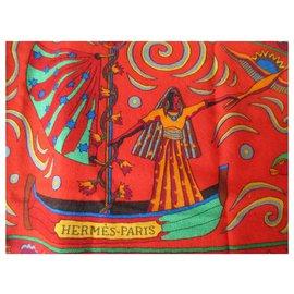 Hermès-Hermès Le Peuple du Vent Scarves-Red