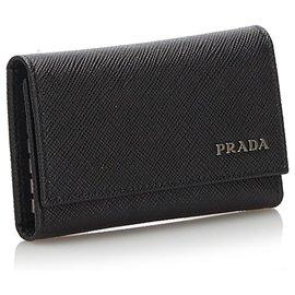 Prada-Prada Black Saffiano Key Case-Black
