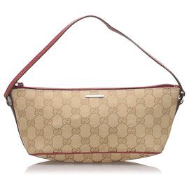 Gucci-Gucci Brown GG Canvas Boat-Marron,Rouge,Beige