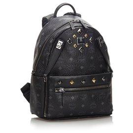 MCM-MCM Black Studded Visetos Leather Backpack-Black