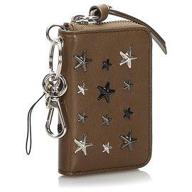 Jimmy Choo-Jimmy Choo Brown Embellished Leather Wallet-Brown