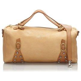 Céline-Celine Brown Leather Boston Bag-Brown,Beige
