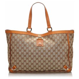 Gucci-Gucci Brown GG Canvas Abbey D Ring Tote Bag-Marron,Beige