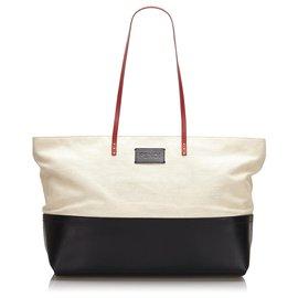 Fendi-Fendi White Canvas Tote Bag-Black,White,Cream