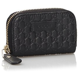 Gucci-Gucci Black Guccissima Leather Small Wallet-Black