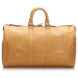 Louis Vuitton-Louis Vuitton Brown Epi Keepall 45-Brown,Beige