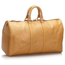 Louis Vuitton-Louis Vuitton Brown Epi Keepall 45-Marron,Beige