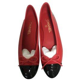 Chanel-ballerines chanel vernis rouge noir neuf-Rouge