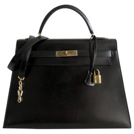 Hermès-Hermès Kelly saddler 32 Black Box-Black