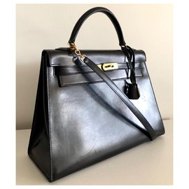 Hermès-Hermes Kelly Sellier 32 Box Noir-Noir