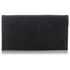 Chanel-Chanel Black Caviar Leather Wallet-Black