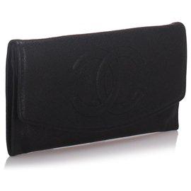 Chanel-Portefeuille Chanel en cuir noir caviar-Noir